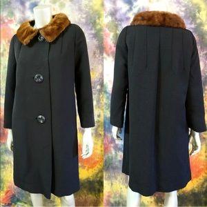 Vintage 60s Black Wool Coat Mink Fur Collar L
